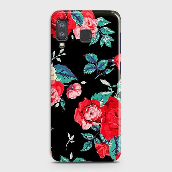 Samsung A9 Star Cover - Luxury Vintage Red Flowers Printed Hard Case with Life Time Colors Guarantee