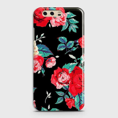 Luxury Vintage Red Flowers Case For Huawei P10