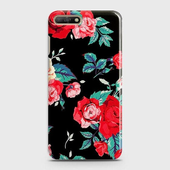 Huawei Y6 2018 Cover - Luxury Vintage Red Flowers Printed Hard Case with Life Time Colors Guarantee