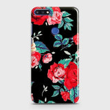 Huawei Y7 Prime 2018 Cover - Luxury Vintage Red Flowers Printed Hard Case with Life Time Colors Guarantee
