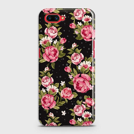 Oppo A5 Cover - Trendy Pink Rose Vintage Flowers Printed Hard Case with Life Time Colors Guarantee