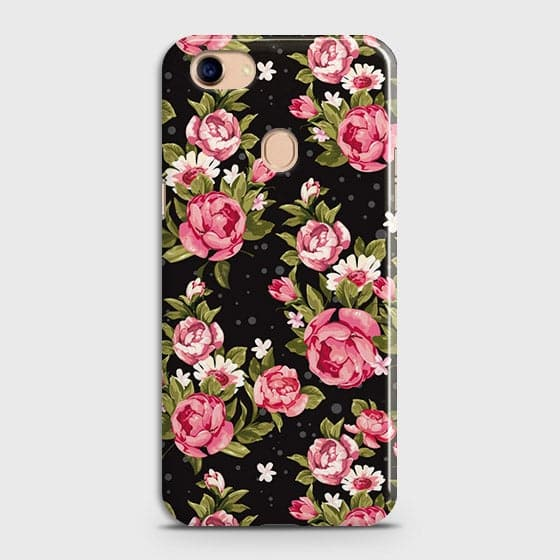 Oppo F5 / F5 Youth Cover - Trendy Pink Rose Vintage Flowers Printed Hard Case with Life Time Colors Guarantee