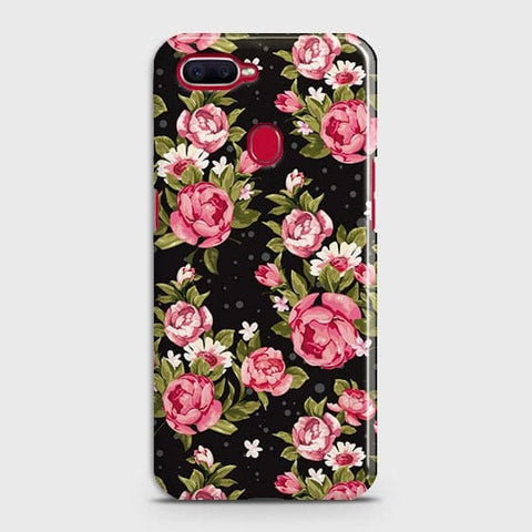 Oppo F9 Cover - Trendy Pink Rose Vintage Flowers Printed Hard Case with Life Time Colors Guarantee