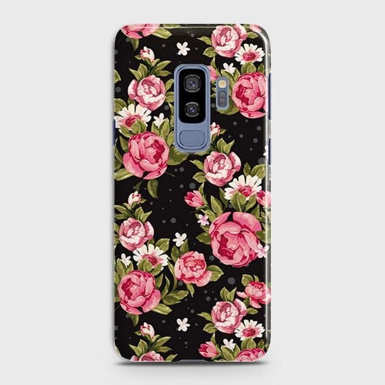 Samsung Galaxy S9 Plus Cover - Trendy Pink Rose Vintage Flowers Printed Hard Case with Life Time Colors Guarantee