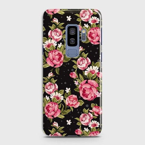 Trendy Pink Rose Vintage Flowers Case For Samsung Galaxy S9 Plus