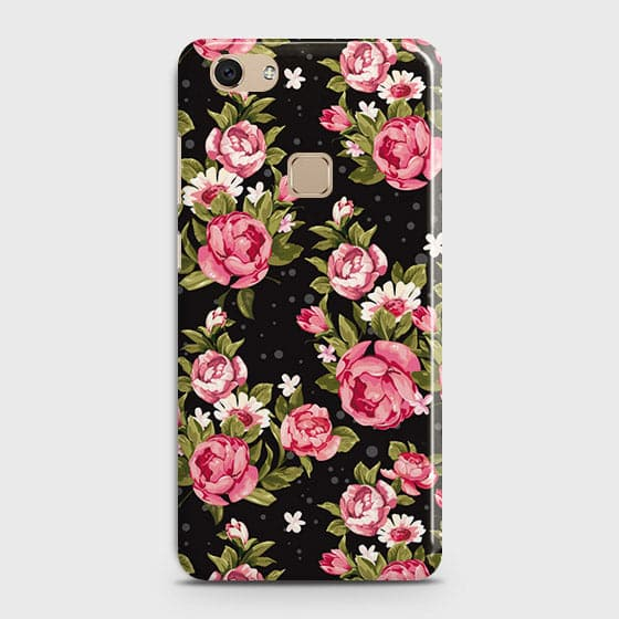 Vivo V7 Cover - Trendy Pink Rose Vintage Flowers Printed Hard Case with Life Time Colors Guarantee