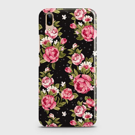 Vivo V11 Pro Cover - Trendy Pink Rose Vintage Flowers Printed Hard Case with Life Time Colors Guarantee