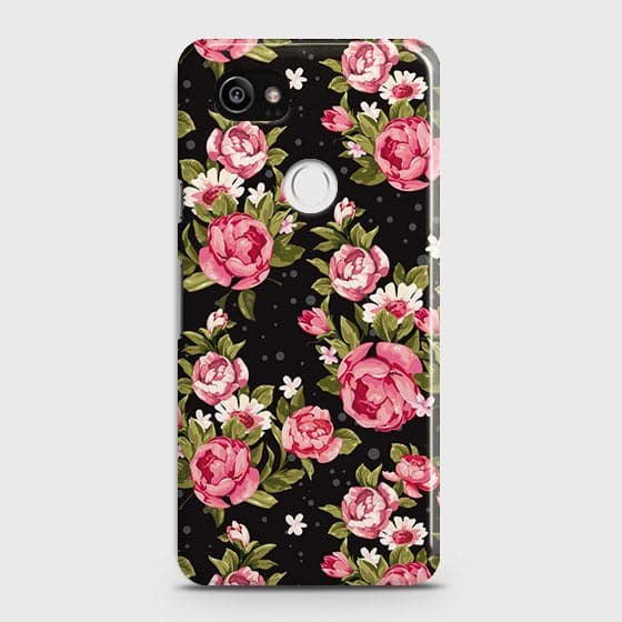 Google Pixel 2 XL Cover - Trendy Pink Rose Vintage Flowers Printed Hard Case with Life Time Colors Guarantee