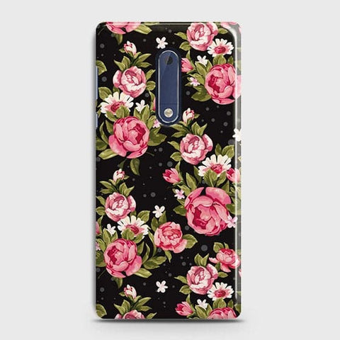 Nokia 5 Cover - Trendy Pink Rose Vintage Flowers Printed Hard Case with Life Time Colors Guarantee
