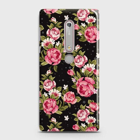 Nokia 6.1 Cover - Trendy Pink Rose Vintage Flowers Printed Hard Case with Life Time Colors Guarantee