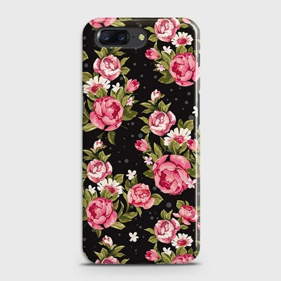 OnePlus 5 Cover - Trendy Pink Rose Vintage Flowers Printed Hard Case with Life Time Colors Guarantee