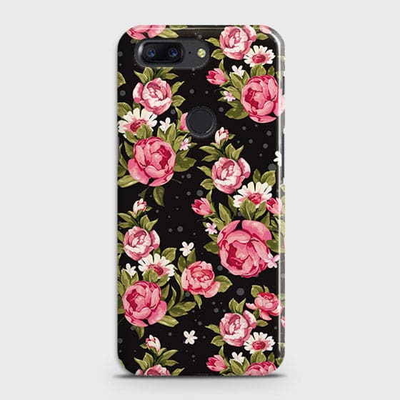 OnePlus 5T Cover - Trendy Pink Rose Vintage Flowers Printed Hard Case with Life Time Colors Guarantee