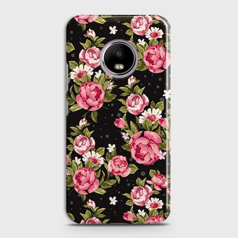 Motorola E4 Plus Cover - Trendy Pink Rose Vintage Flowers Printed Hard Case with Life Time Colors Guarantee