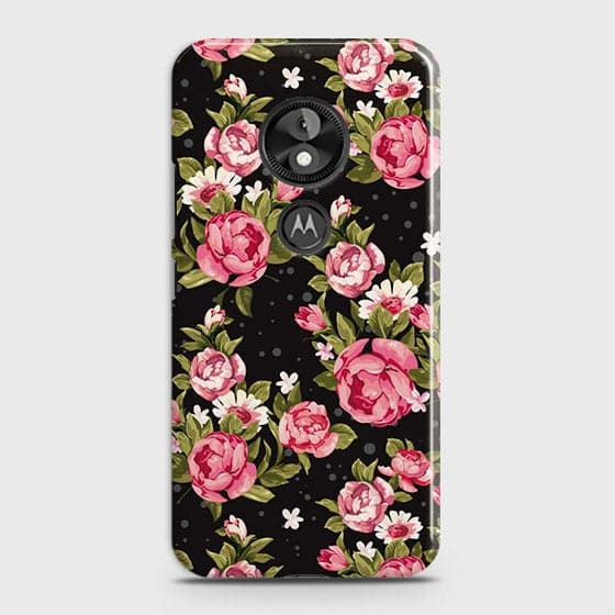 Motorola Moto E5 / G6 Play Cover - Trendy Pink Rose Vintage Flowers Printed Hard Case with Life Time Colors Guarantee