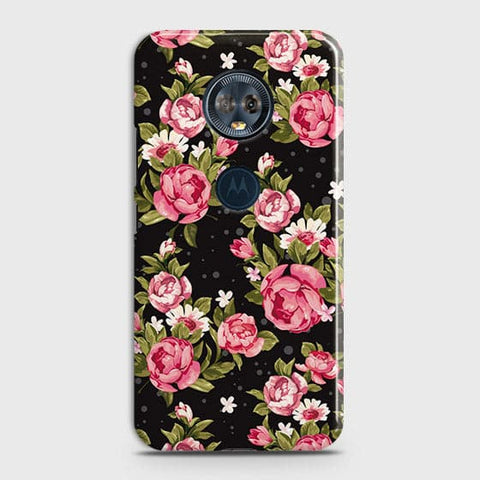 Motorola E5 Plus Cover - Trendy Pink Rose Vintage Flowers Printed Hard Case with Life Time Colors Guarantee