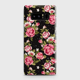 Samsung Galaxy Note 8 Cover - Trendy Pink Rose Vintage Flowers Printed Hard Case with Life Time Colors Guarantee