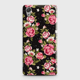 Sony Xperia XA Cover - Trendy Pink Rose Vintage Flowers Printed Hard Case with Life Time Colors Guarantee