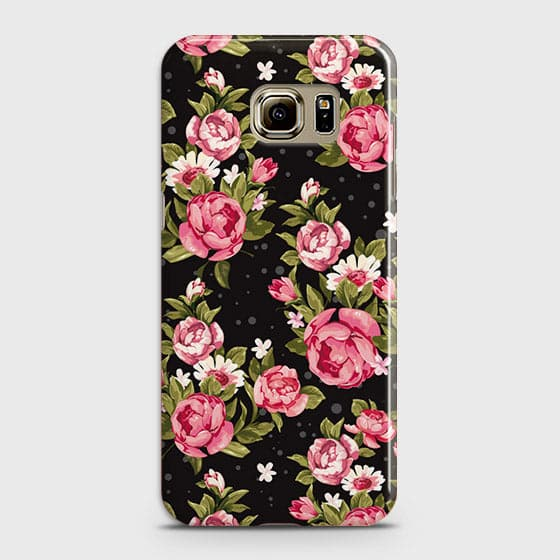 Samsung Galaxy S6 Edge Cover - Trendy Pink Rose Vintage Flowers Printed Hard Case with Life Time Colors Guarantee