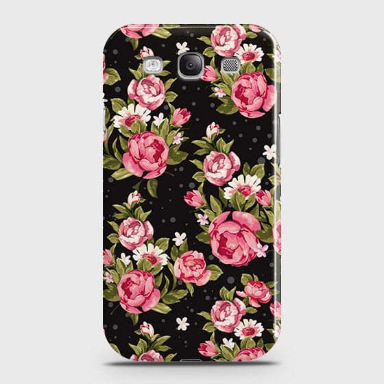 Samsung Galaxy S3 Cover - Trendy Pink Rose Vintage Flowers Printed Hard Case with Life Time Colors Guarantee