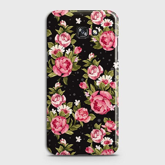 Samsung A3 2017 Cover - Trendy Pink Rose Vintage Flowers Printed Hard Case with Life Time Colors Guarantee