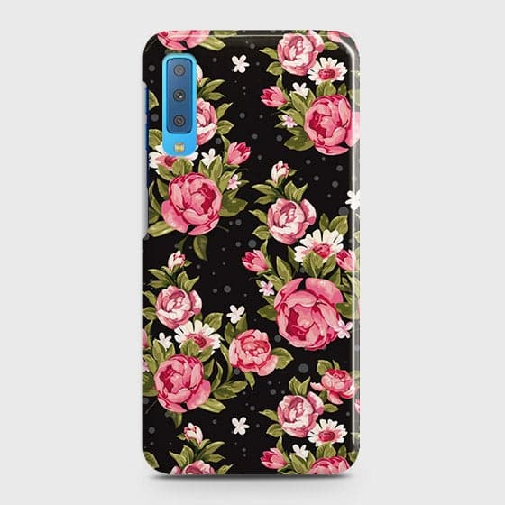 Samsung A7 2018 Cover - Trendy Pink Rose Vintage Flowers Printed Hard Case with Life Time Colors Guarantee
