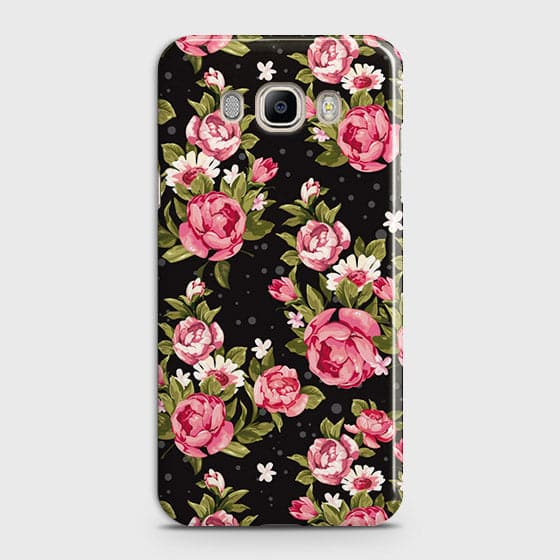 Samsung Galaxy J710 Cover - Trendy Pink Rose Vintage Flowers Printed Hard Case with Life Time Colors Guarantee