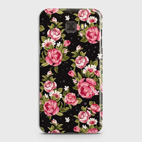 Samsung C7 Cover - Trendy Pink Rose Vintage Flowers Printed Hard Case with Life Time Colors Guarantee