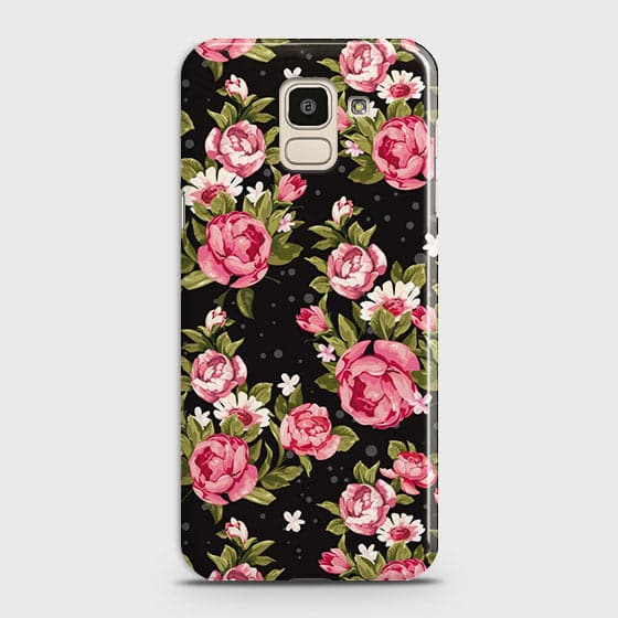 Samsung J6 2018 Cover - Trendy Pink Rose Vintage Flowers Printed Hard Case with Life Time Colors Guarantee