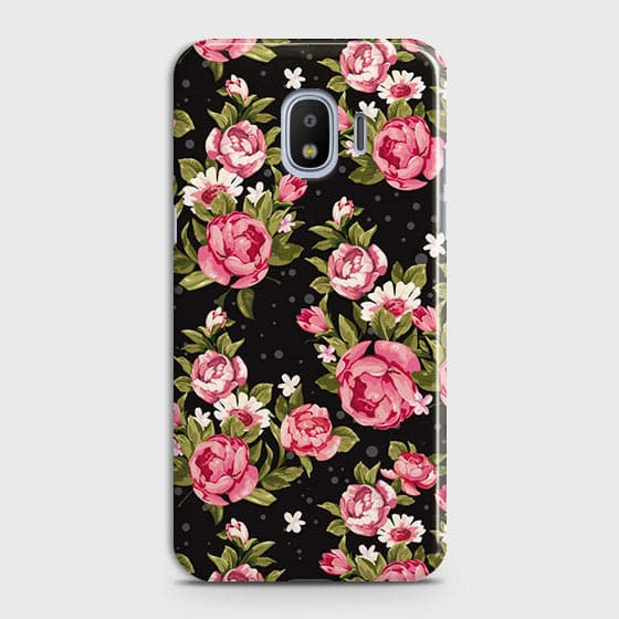 Samsung Galaxy J4 Cover - Trendy Pink Rose Vintage Flowers Printed Hard Case with Life Time Colors Guarantee