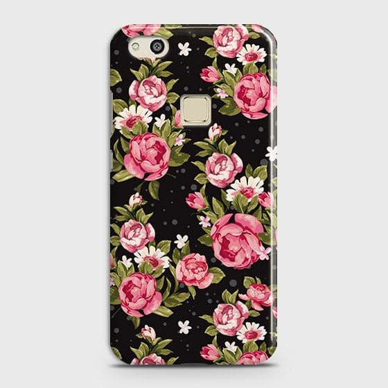 Huawei P10 Lite Cover - Trendy Pink Rose Vintage Flowers Printed Hard Case with Life Time Colors Guarantee
