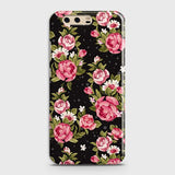 Huawei P10 Cover - Trendy Pink Rose Vintage Flowers Printed Hard Case with Life Time Colors Guarantee