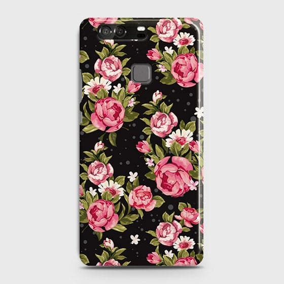 Huawei P9 Cover - Trendy Pink Rose Vintage Flowers Printed Hard Case with Life Time Colors Guarantee