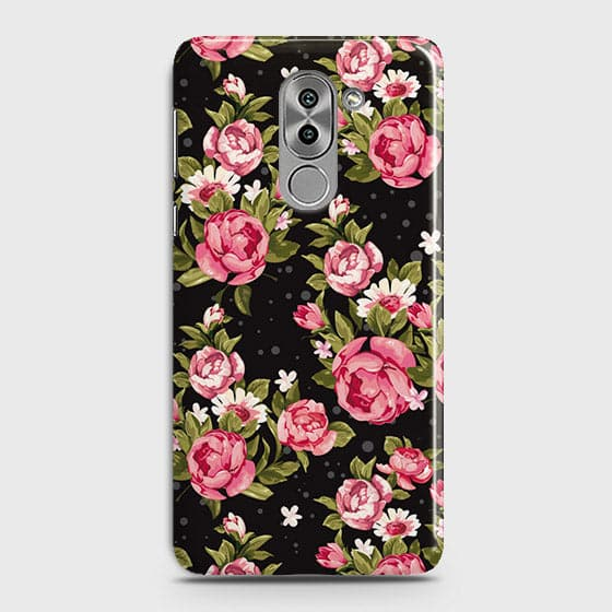 Huawei Honor 6X Cover - Trendy Pink Rose Vintage Flowers Printed Hard Case with Life Time Colors Guarantee