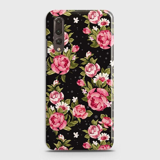 Huawei P20 Pro Cover - Trendy Pink Rose Vintage Flowers Printed Hard Case with Life Time Colors Guarantee