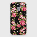 Huawei Y7 Prime Cover - Trendy Pink Rose Vintage Flowers Printed Hard Case with Life Time Colors Guarantee