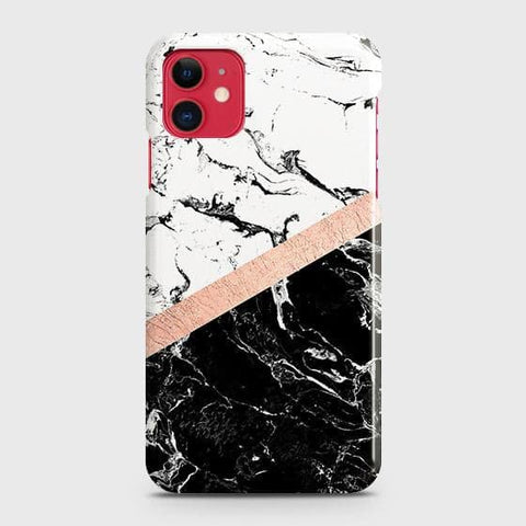 3D Black & White Marble With Chic RoseGold Strip Case For iPhone 11