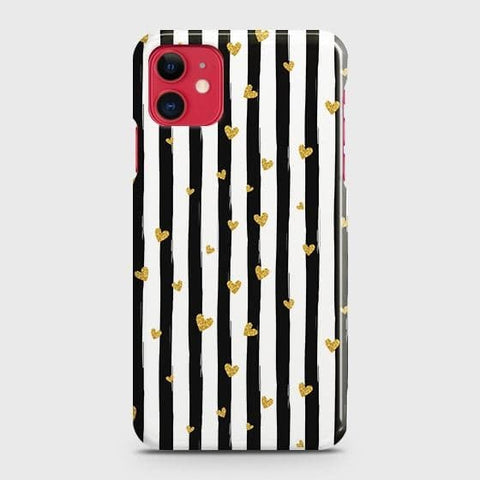Trendy Black & White Strips With Golden Hearts Hard Case For iPhone 11