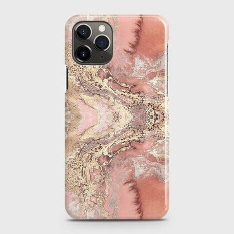 Trendy Chic Rose Gold Marble 3D Case For iPhone 11 Pro
