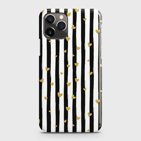 Trendy Black & White Strips With Golden Hearts Hard Case For iPhone 11 Pro