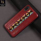 G-Case Folk Style Series Leather PC Case Color Red For iPhone X