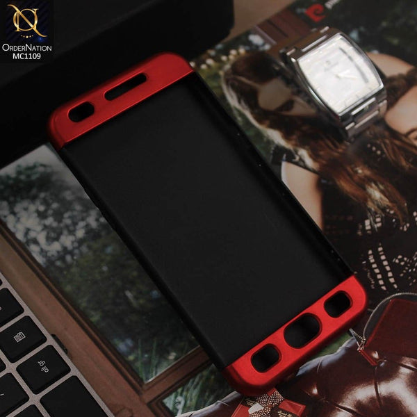 3 in1 Joint 360 Smart Protection Stylish Black-Red PC Case For Oppo A57
