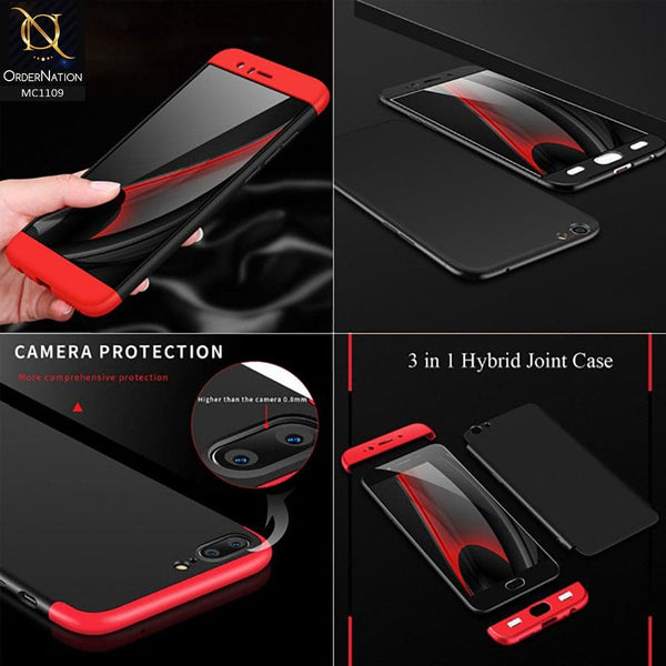 3 in1 Joint 360 Smart Protection Stylish Black-Red PC Case For Oppo F3