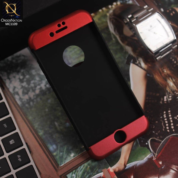 3 in1 Joint 360 Smart Protection Stylish Black-Red PC Case For iPhone 7