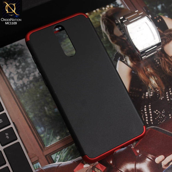 3 in1 Joint 360 Smart Protection Stylish Black-Red PC Case For Huawei Mate 10 Lite