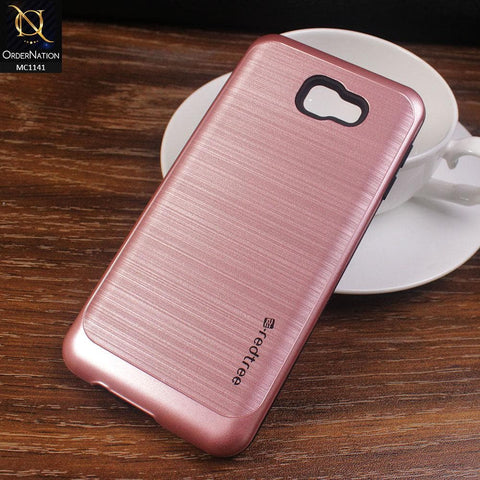 Red Tree Hybrid Metal Lines Texture Pc Tpu Case For Samsung Galaxy J5 Prime - Pink
