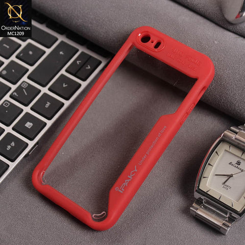 IPaky Hybrid Tpu Pc With Red Side Design Transparent Case For iPhone 5
