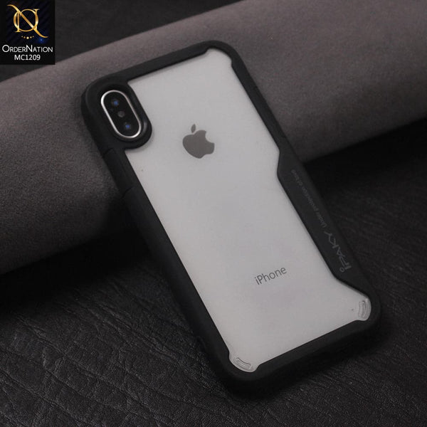 IPaky Hybrid Tpu Pc With Side Design Transparent Case Color Black For iPhone X