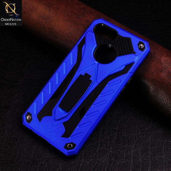 Luxury Armor Hybrid Shockproof Stand Case For Oppo A7 - Blue