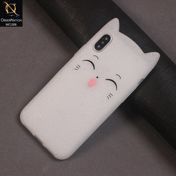 3D Silicone Smile Tongue Cat Case Color White For iPhone X