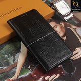 Rich Boss Flip Book Soft Black Leather Texture Case For Samsung C7